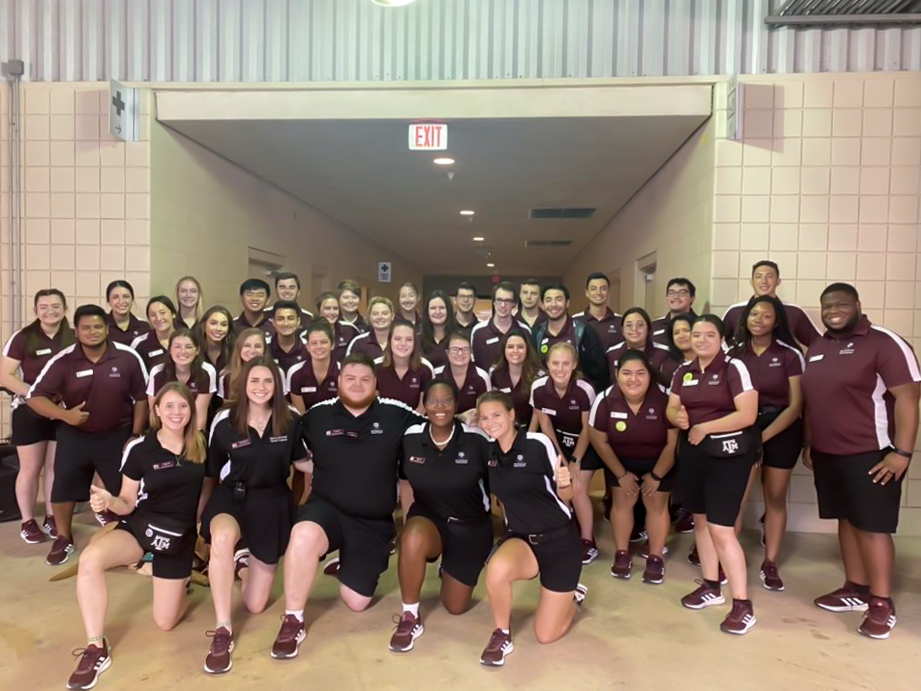 Group photo of Aggie Orientation Leaders in uniform